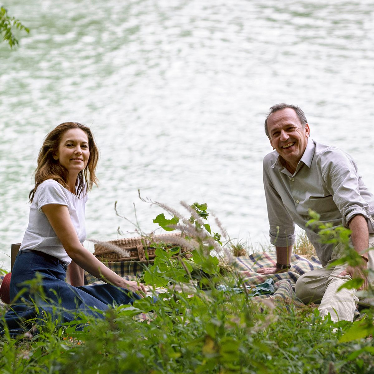 """No Merchandising. Editorial Use Only. No Book Cover Usage Mandatory Credit: Photo by A+E/Kobal/REX/Shutterstock (8819605a) Diane Lane, Arnaud Viard """"Paris Can Wait"""" Film - 2016"""