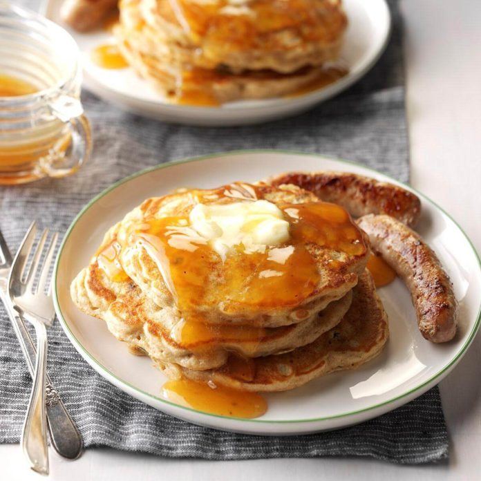 Apple Pancakes with Cider Syrup