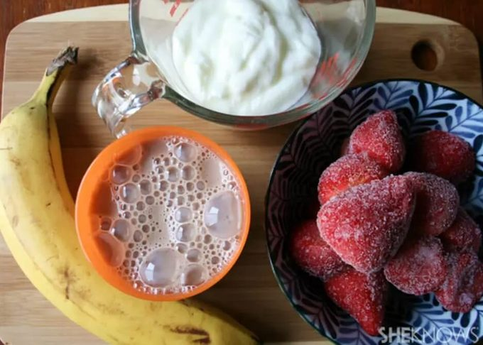 Ingredients for a banana smoothie