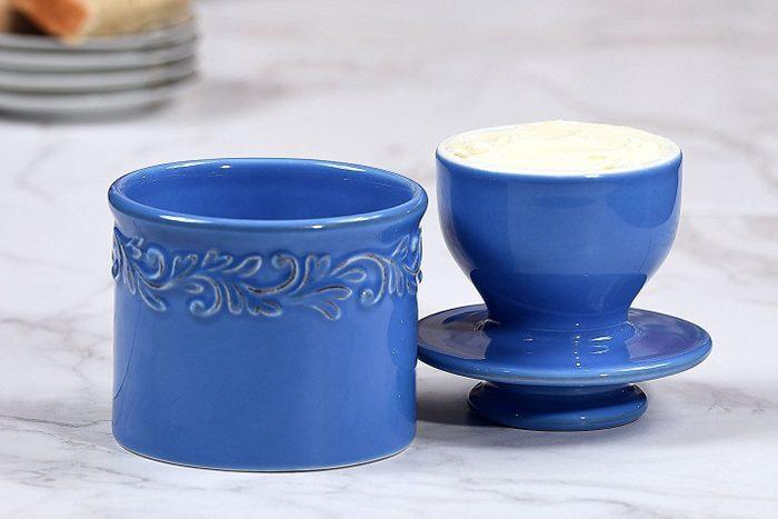 blue butter crock or butter bell