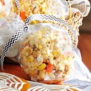 Candy Corn & Peanut Popcorn Balls