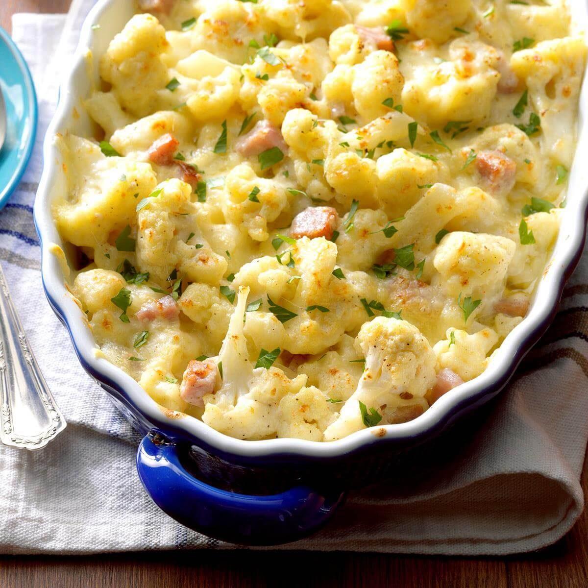 A casserole dish filled with Cauliflower Au Gratin