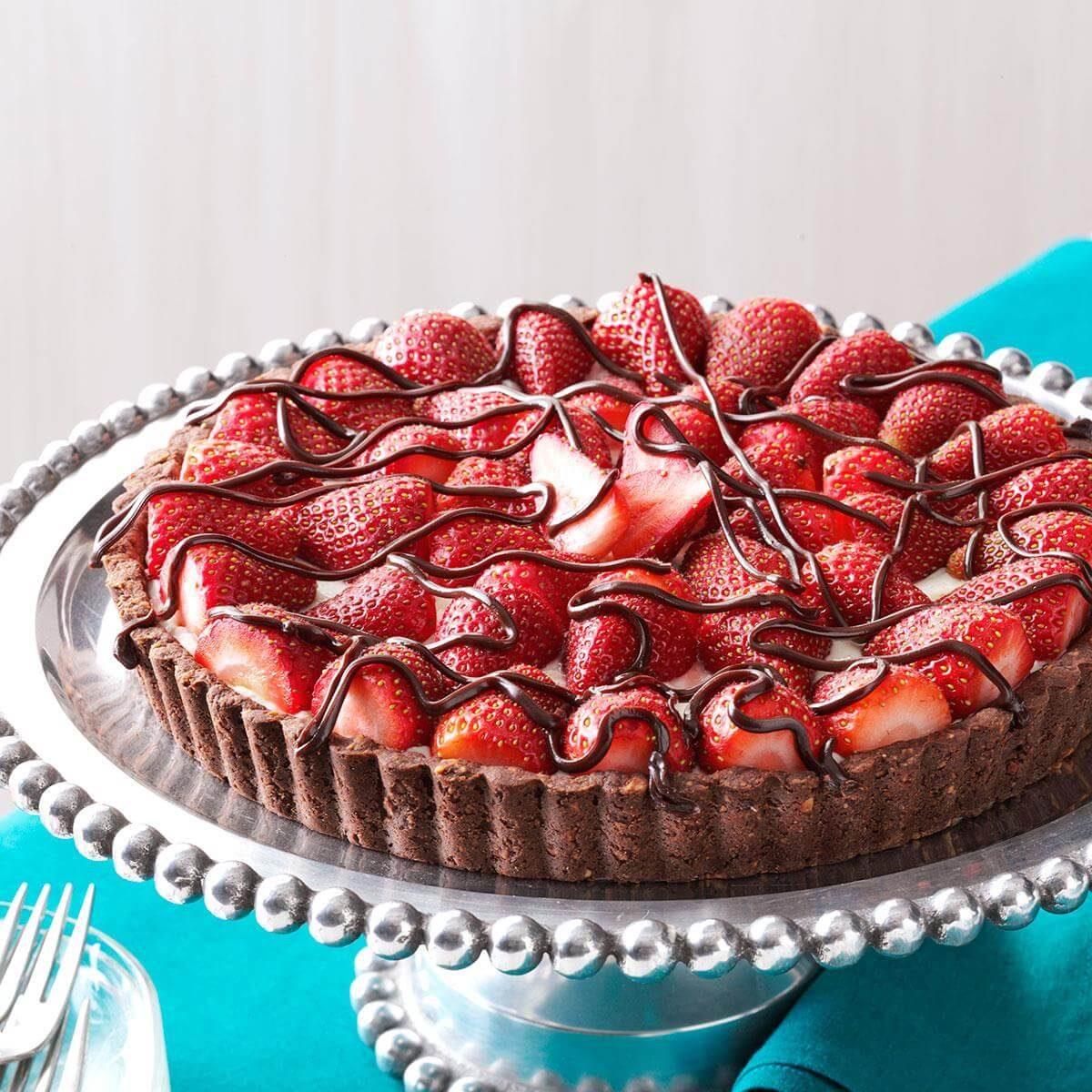 Strawberries Cream Torte Recipe: Chocolate-Strawberry Cream Cheese Tart Recipe