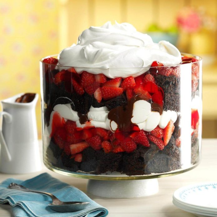 Chocolate Strawberry Punch Bowl Trifle