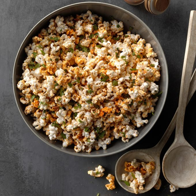 A bowl of seasoned homemade stovetop popcorn.