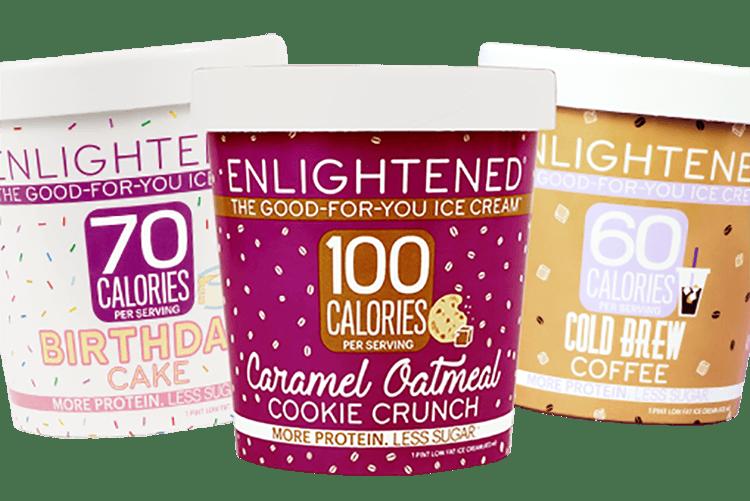 Three pints of Enlightened ice cream