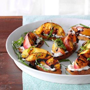 Grilled Nectarine & Cheese Crostini