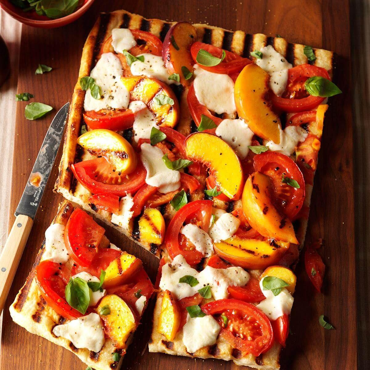 Grilled Tomato Peach Pizza Recipe Taste Of Home