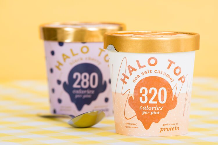Two pints of Halo Top ice cream