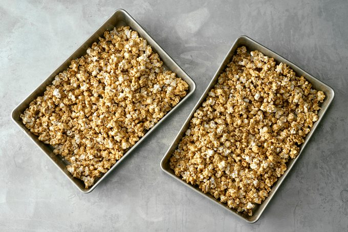pans of homemade caramel corn