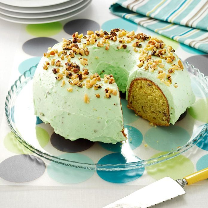 Pistachio Bundt Cake With Walnuts