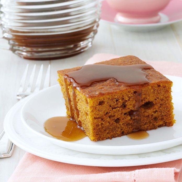 Pumpkin Cake with Caramel Sauce