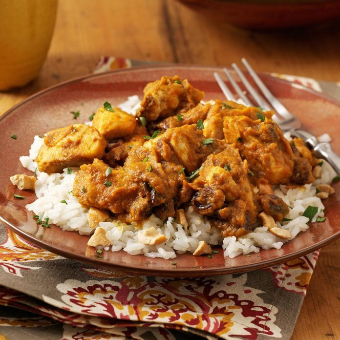 Pumpkin-Curry Chicken over Cashew Rice