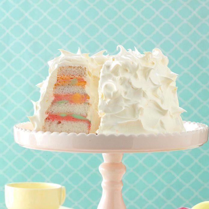 Rainbow Sherbet Angel Food Cake