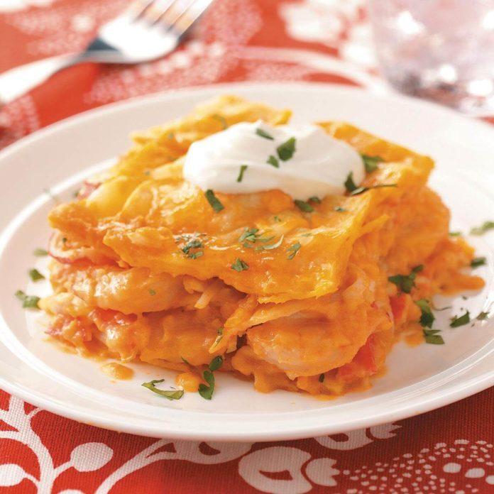 Seafood Tortilla Lasagna