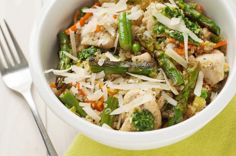 Slow cooker chicken spring vegetables quinoa
