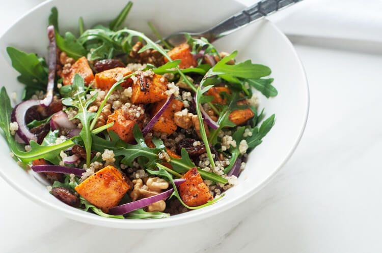 Sweet potato quinoa salad with walnuts and raisins