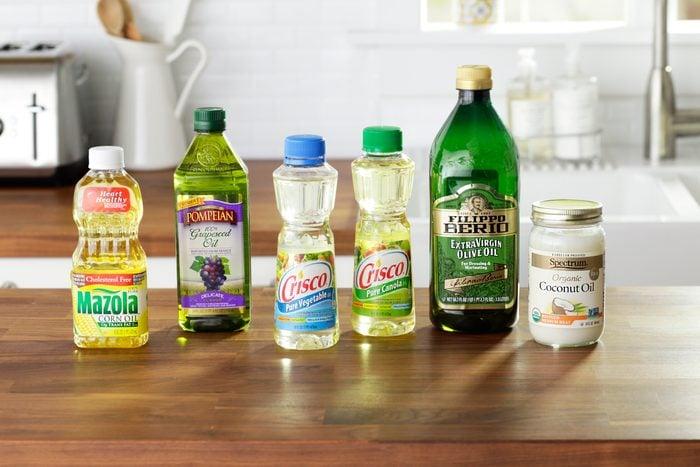 generic cooking oil bottles in kitchen enviro