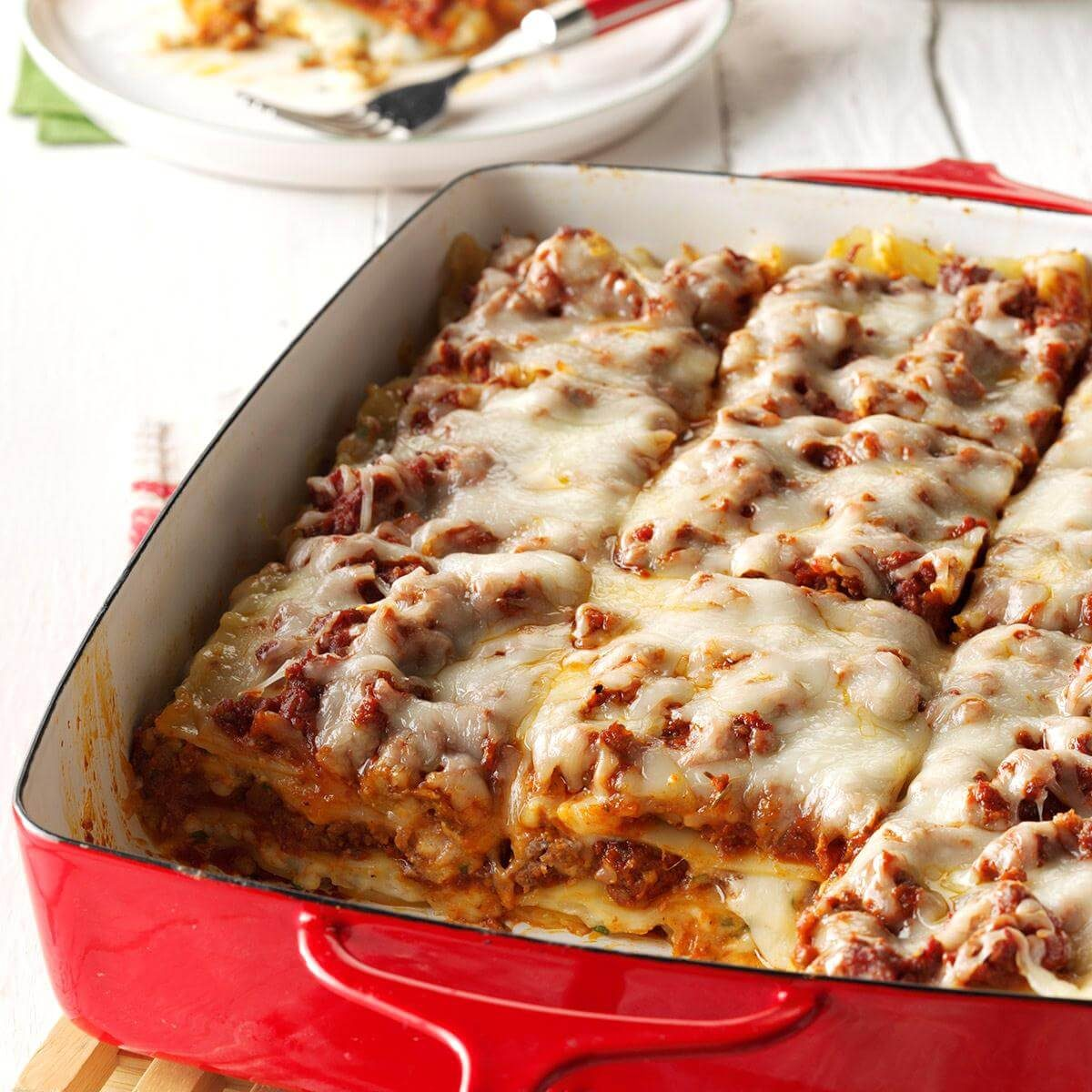 traditional lasagna recipe taste of home rh tasteofhome com lasagna made with cottage cheese and ricotta cottage cheese and ricotta lasagna