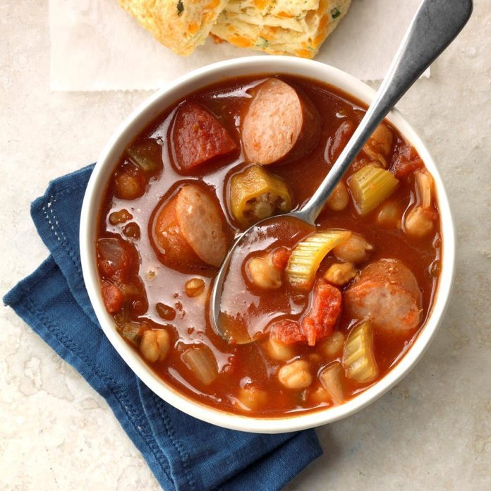 Zesty Garbanzo Sausage Soup