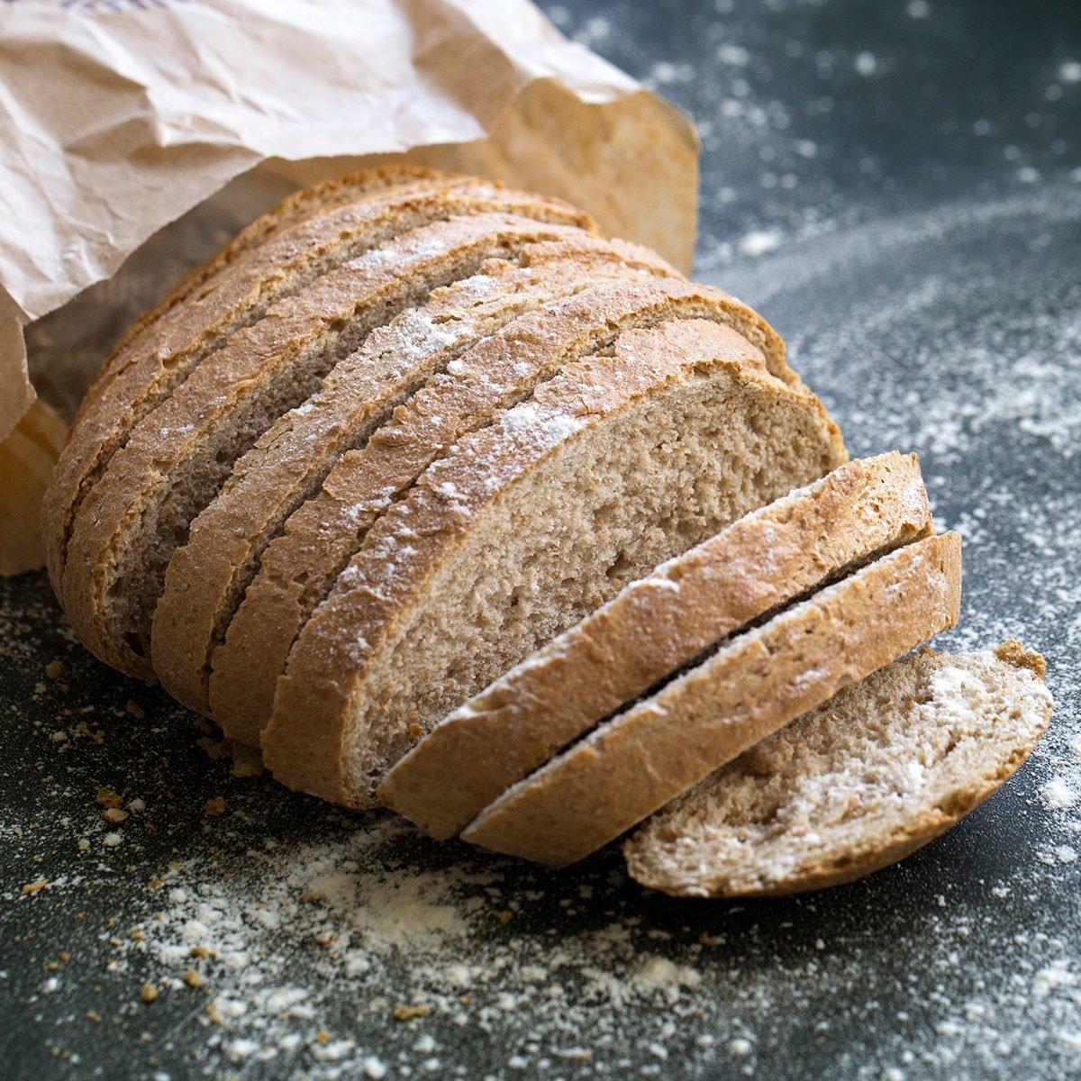 Fresh Sliced whole grain loaf of bread