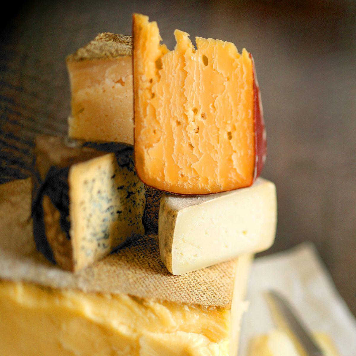 Close up of cheeses