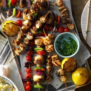 50 brilliant recipes for food on a stick taste of home spicy lemon chicken kabobs forumfinder Choice Image