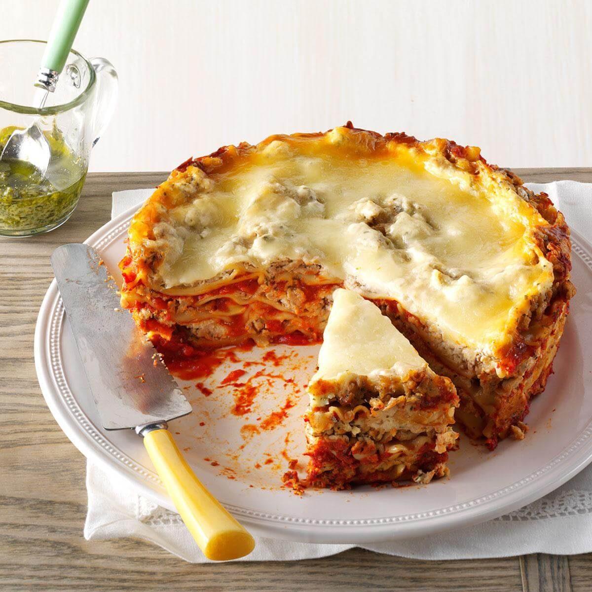 Slow Cooker Turkey Pesto Lasagna Recipe