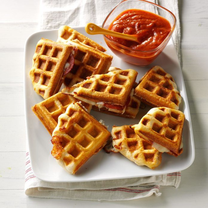 Day 6 Lunch: Waffle Iron Pizzas