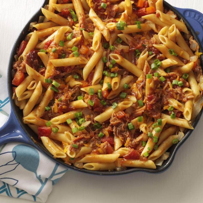 45 Easy Camping Recipes: Barbecue Pork And Penne Skillet Recipe