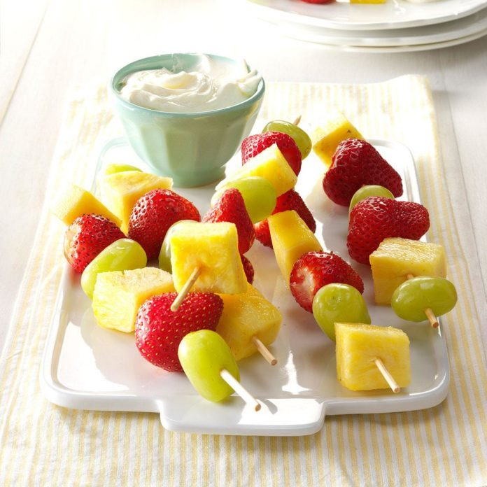 Fruit Kabobs with Cream Cheese Dip
