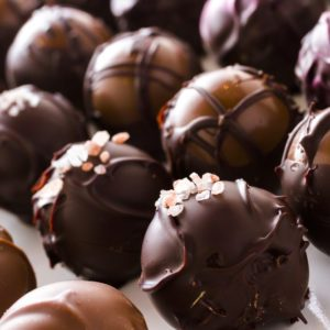 Gourmet assorted truffles hand made by chocolatier