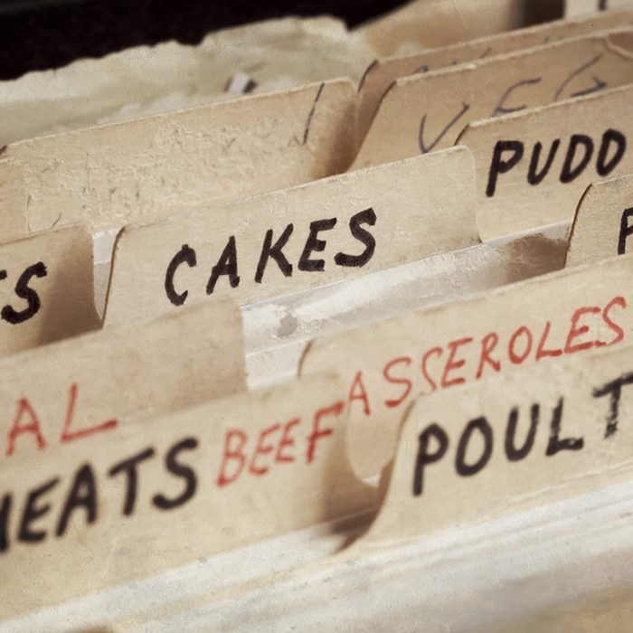 Old recipe box, with sections for cakes, meats, etc. ; Shutterstock ID 159058811