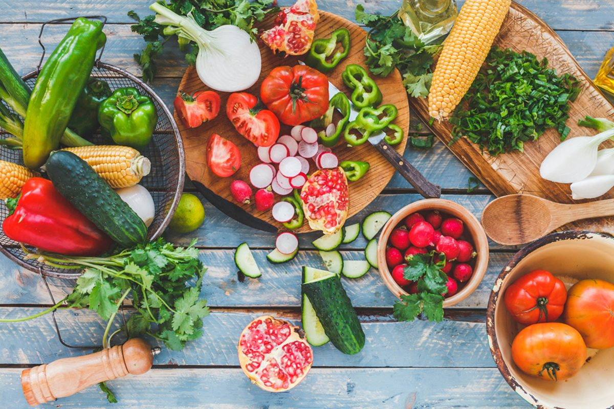 Traditional vegetables used in Arabian cuisine. Vegetables on wood. Bio Healthy food, herbs and spices. Organic vegetables on wood