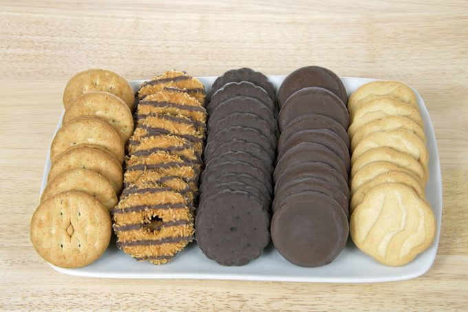 White rectangular plate with the five most popular original Girl Scout created by ABC Bakers.