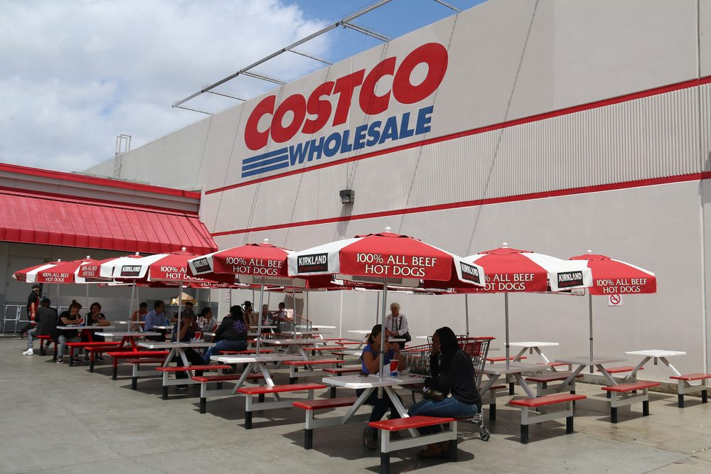 Norwalk, California, USA - April 27, 2016: Customers are having food purchased at the food court of Costco, the largest membership-only warehouse in the United States.
