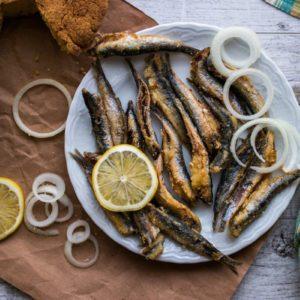 Turkish Hamsi Tava with cornbread / Fried Anchovies