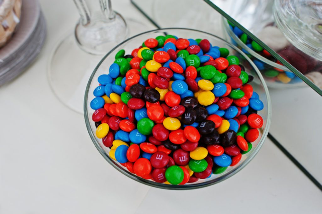 M&Ms in a glass bowl