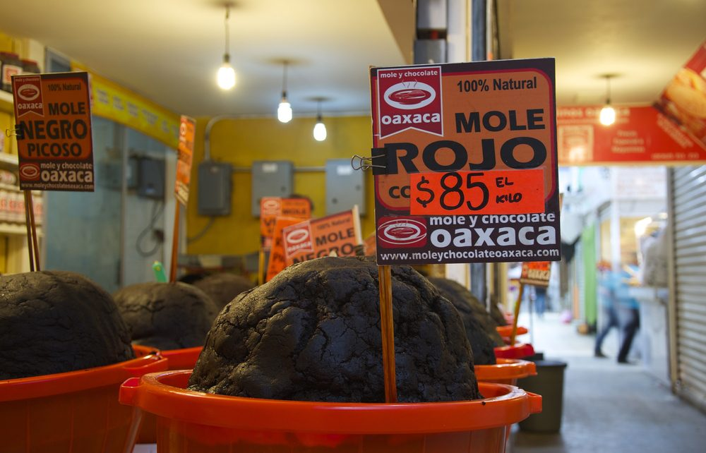 Oaxaca, Mexico-November 3, 2016: Mole for sale in the Oaxaca market