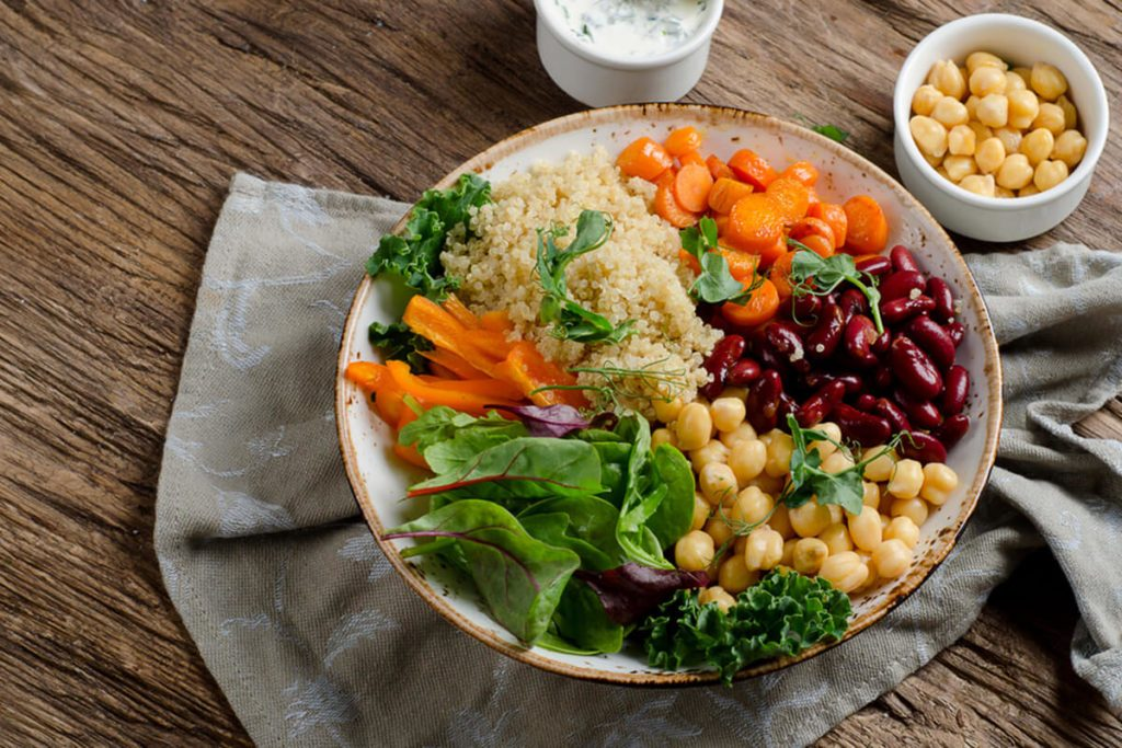 Vegetarian Buddha bowl with quinoa and chickpea.