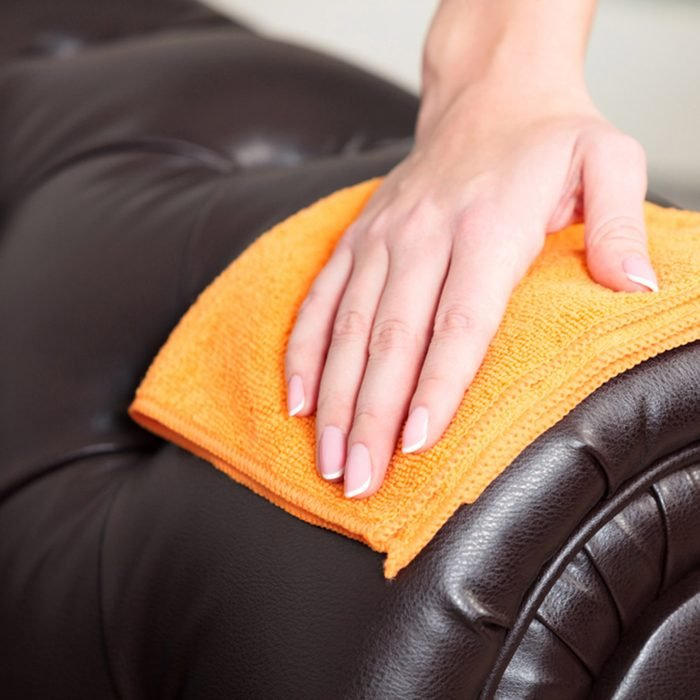 Closeup shot of female hand wiping brown leather chester couch of sofa; Shutterstock ID 781929394; Job (TFH, TOH, RD, BNB, CWM, CM): Taste of Home