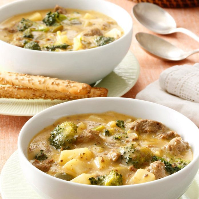 Cheeseburger Broccoli Chowder