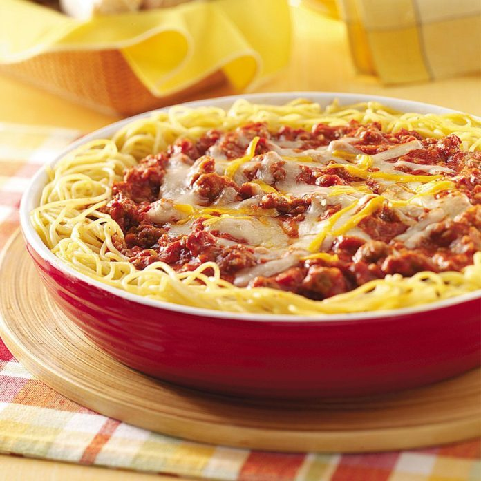 Cheesy Sausage Spaghetti Pie