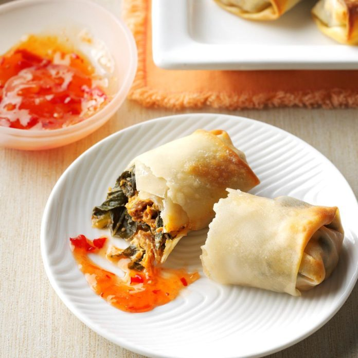 Collard Greens & Pulled Pork Egg Rolls