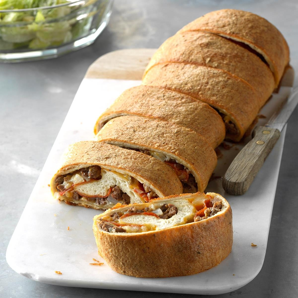 Ground Beef And Pepperoni Stromboli Recipe Taste Of Home