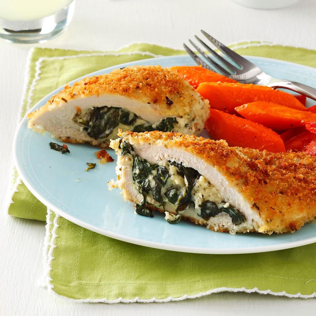 Makeover Spinach-Stuffed Chicken Pockets Recipe