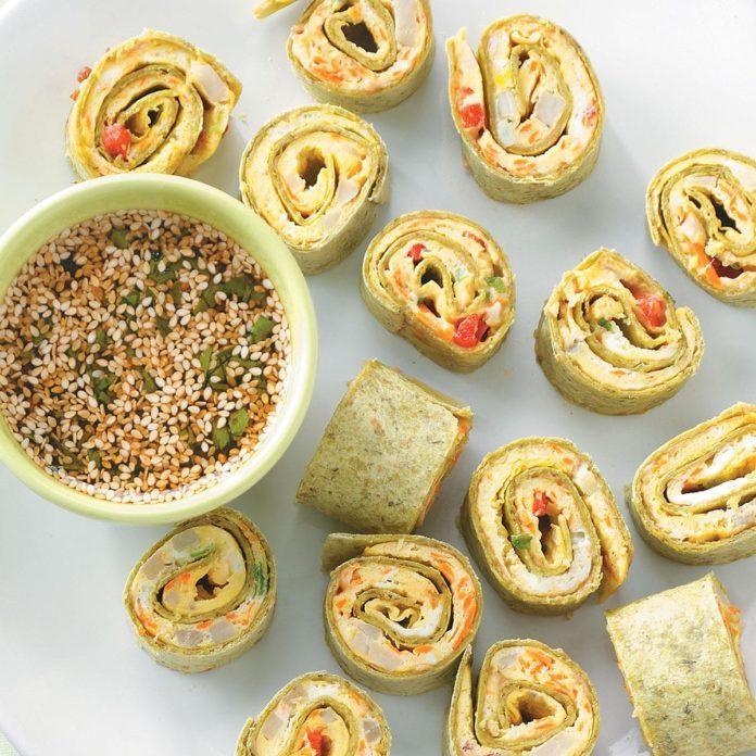 Sesame Omelet Spinach Spirals
