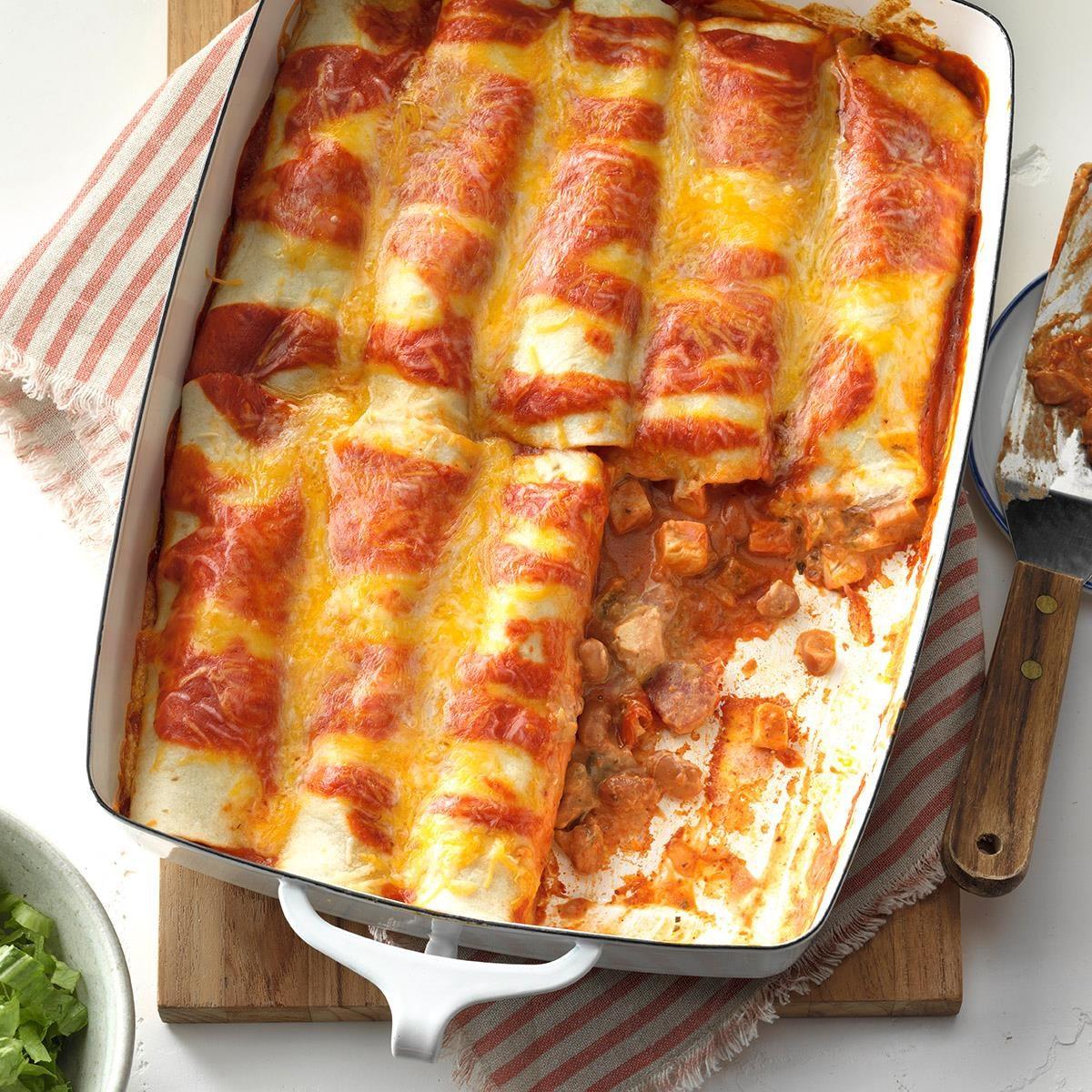 simple chicken enchiladas recipe taste of home rh tasteofhome com