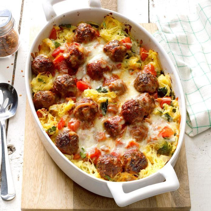 31 healthy comfort foods for people who love to eat taste of home spaghetti squash meatball casserole forumfinder Gallery
