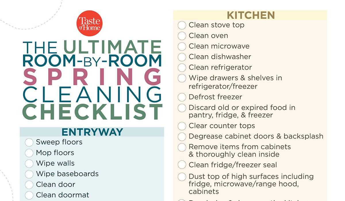 graphic regarding Spring Cleaning Checklist Printable known as The Top House-through-Area Spring Cleansing Listing (Furthermore
